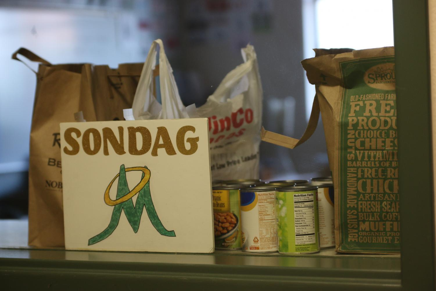 Manogue's food donations. Photo courtesy of the Bishop Manogue Yearbook Staff.