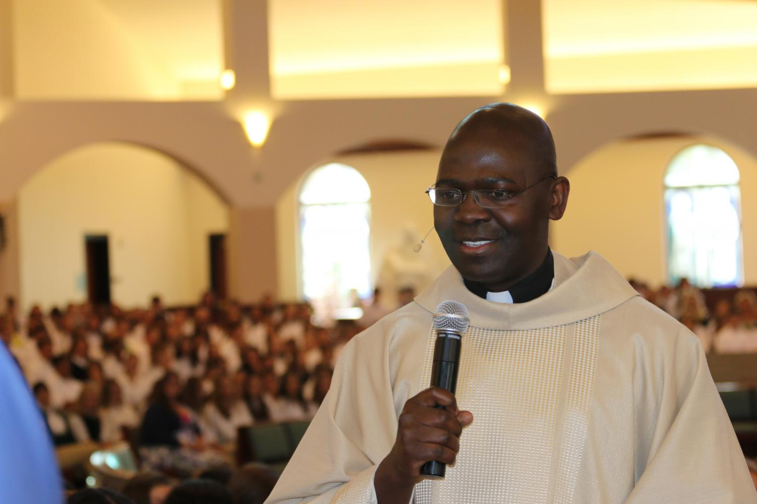Father Richard leads a Welcome Back Mass in August of 2016.
