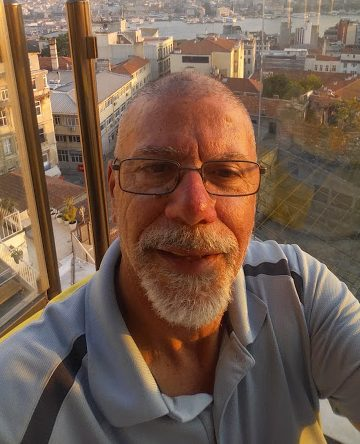 Mr. B snaps a selfie at the top of a restaurant in Istanbul.