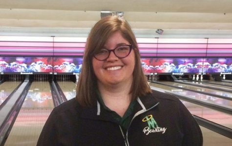 Mrs. Montana Leblanc, AP Literature and AP Seminar teacher, is also the Manogue bowling coach.  Photo courtesy of Tim Walsh.
