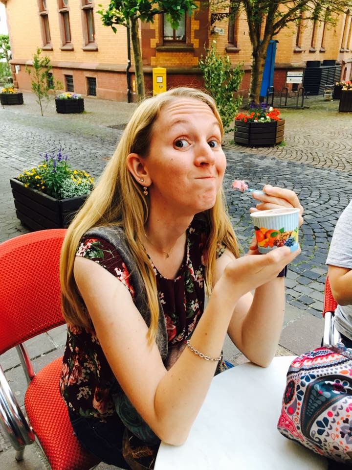 Sarah Haeberlin-Cope enjoys some ice cream during her trip to Germany last summer.