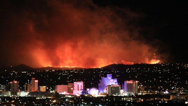 A fire captured burning above Reno against the skyline. (Photo courtesy ABC News)