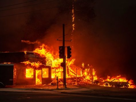 The deadly Camp Fire takes over a street in flames. Photo courtesy of Wired.