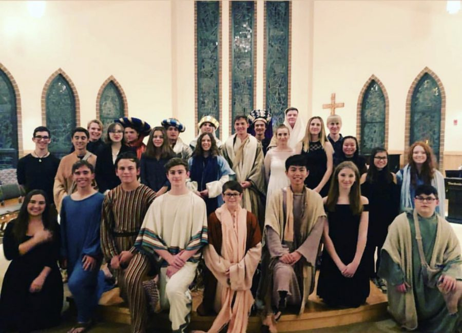 The+Live+Nativity+cast+pictured+after+their+production.+Photo+courtesy+of+Mrs.+Schnaible.