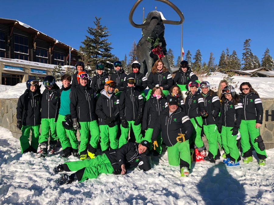 The+Ski+Team+poses+for+a+photo+during+their+weekend+at+Mammoth+Mountain%2C+CA+this+season.+Photo+courtesy+of+the+Bishop+Manogue+Yearbook+Staff.