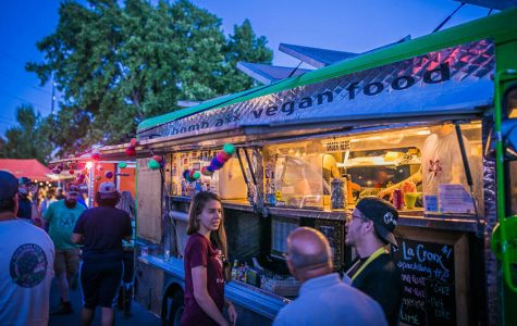 A warm summer night at Food Truck Friday in Idlewild Park along the Truckee River. Photo courtesy of Visit Reno Tahoe.
