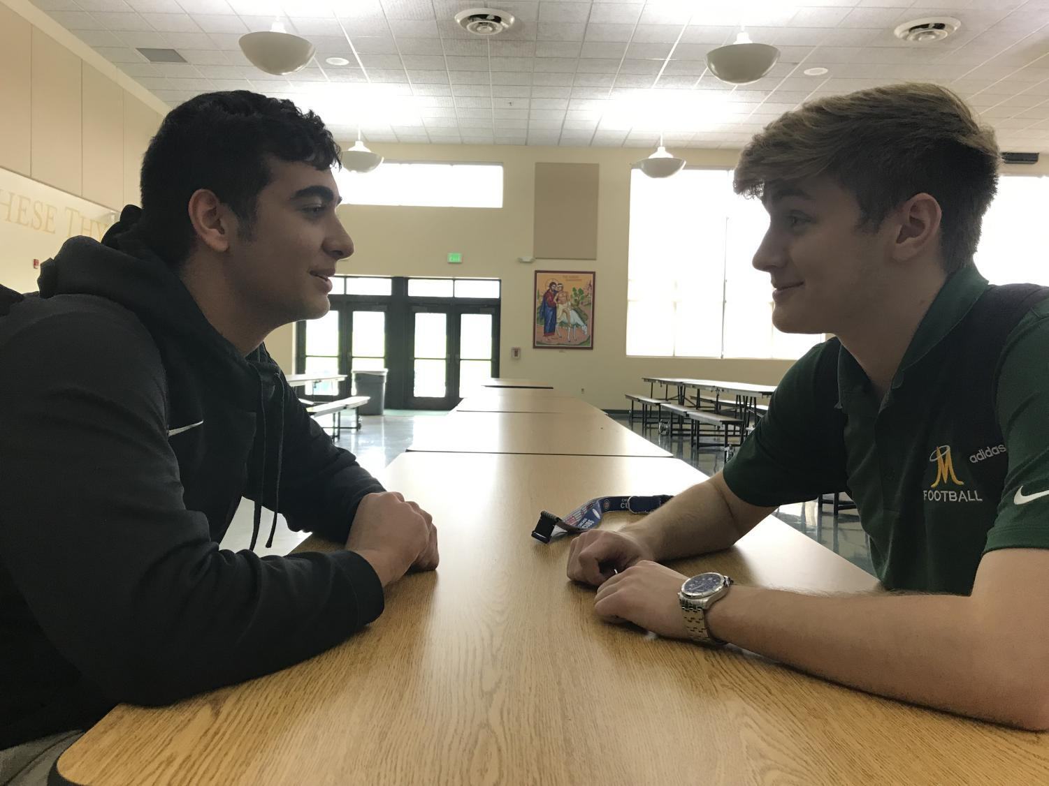Parsa Sar-Sangi and Revere Laird, members of the Miner Men mentorship program, are pictures during on of their weekly check-ins.