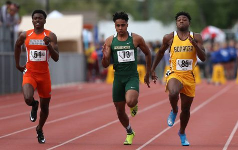 From left, Bishop Gorman Kyu Kelly, Bishop Manogue Peyton Dixon and Bonanza Joey Fox compete in the 4A 100-meter dash the NIAA Track & Field Championships at Carson High in Carson City, Nev., on Friday, May 18, 2018. Cathleen Allison/Las Vegas Review-Journal